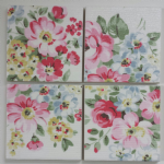 4 Ceramic Coasters In Cath Kidston Spring Bouquet White